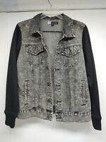 MC Squared 2 Men's XL Denim Jacket Fleece Sleeves Distressed Black. Motorcycle