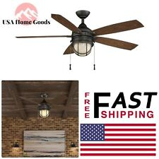 Indoor/Outdoor Natural Iron Ceiling Fan with Light Kit 52 in. LED Mounted