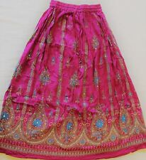 Indian Long Sequin Skirt Boho Bollywood Belly Dance Hippie Gypsy Pink
