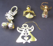 Metal Angel Ornaments Lot of 4 Vintage Gold Tone Angel Ornaments