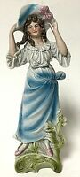 Vintage Bisque Porcelain Colonial Woman In Blue And Gold Decorative Figurine