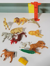 MIXED LOT ANIMAL OLD? PLASTIC FIGURINES BITS AND PIECES! COW LION HORSE ZEBRA