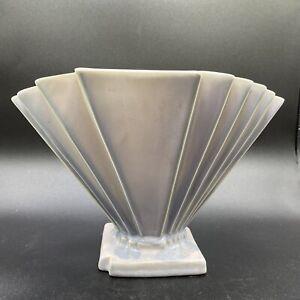 Vtg. 1920s Weller Ware Lorbeek Pale Blue Art Deco Fan Vase - As Is