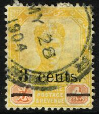 SG 54 MALAYA (JOHORE) 1903 - 3c on 4c YELLOW & RED - USED