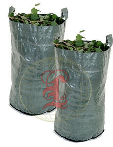 2 x Heavy Duty Green Woven Garden Waste Refuse Sack Bag 150 litres
