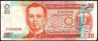 1997 PHILIPPINES 20 PISO BANKNOTE * FV 018039 * F+ * P-182a * Signature # 14