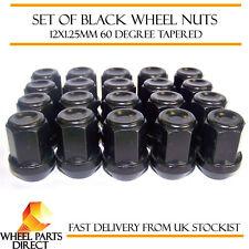20 * 12x1.25 mm 12x1.25 Negro Acero de aleación Rueda Lug Nuts 60 Grados cónico Pernos