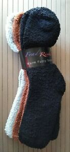 3 Pack Frad Rivka Large Fluffy Fuzzy Cozy Socks Black, Brown, and Grey