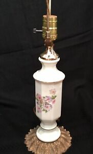 Hollywood Regency Lamp, Small Ivory Floral Porcelain & Brass