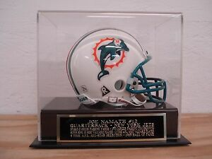 Joe Namath Football Mini Helmet Display Case W/ A Jets Engraved Nameplate.