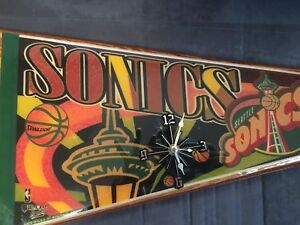 """Seattle Supersonics Vintage Laminated Pennant Collectors Item Wooden 35"""" X 14"""""""