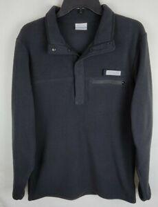 Columbia Mens Size Small Black PFG Harborside Fleece Pullover Jacket
