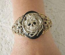 Skull Dragon Cuff Bracelet, gothic medieval goth fantasy renaissance steampunk