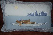 Woolrich down fill Cabin Lake House canoe fishing toss decorative pillow 19 x 12