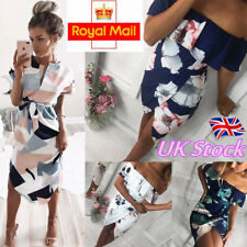 Womens Summer Floral Casual Bodycon Evening Party Cocktail Short Mini Dress UK