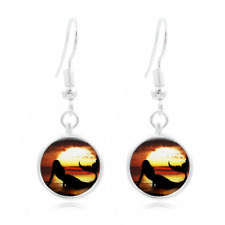 Mermaid Sunset glass Frea Earrings Art Photo Tibet silver Earring Jewelry #370