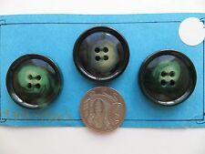 1970s Vintage Med Mottled Green Black Cream 4-Hole Coat Jacket Cape Buttons-28mm