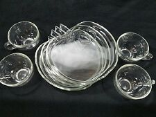 Hazel-Atlas Glass Plates with Cups EUC Set of 4 Apple Shape Vintage Clear