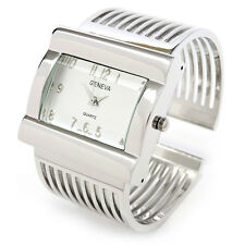 Silver Metal Grill Band Large Face Women's Wide Bangle Cuff Watch