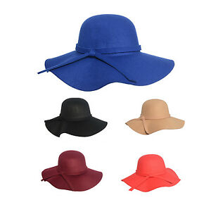8 colour Womens Soft Wool Felt Fedora Floppy Cloche Wide Brim Bowknot Hat Cap UK