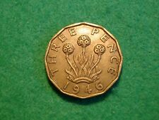More details for 1946 brass threepence george vi g/vf traces of lustre  (ju-900)