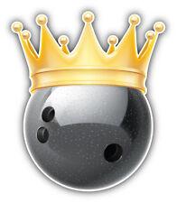 Bowling Ball Golden Crown Car Bumper Sticker Decal 4'' x 5''