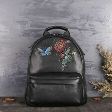 Black Women Genuine Cow Leather Backpack Travel Bag handbag Flower Embossed M