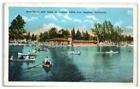 Early 1900s Lake and Boathouse, Lincoln Park, Los Angeles, CA Postcard