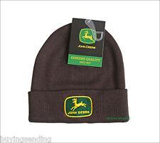 Vendedor Reino Unido Nuevo Con Licencia John Deere 1956 logotipo marrón Beanie Gorro Sombrero del invierno
