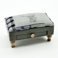 Grey & Purple Tartan Stag, with drawer Tweed Wool Fabric Footstool/Pouffe,2448