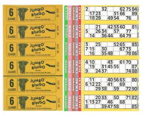 60 BOOKS 6 PAGE GAME 10 STRIPS OF 6 TV JUMBO BINGO TICKET SHEET BIG BOLD NUMBERS