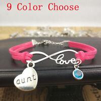 Infinity love Bracelet,silver Leather bracelet,aunt gift,birthstone jewelry