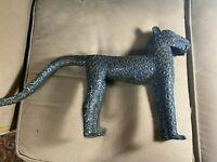 "Large Magnificent Antique African Benin Metal Leopard Sculpture -14"" x 22"" x 4.5"