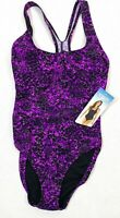 SPEEDO Swimsuit Size 6 Purple Black Print One Piece Tank Maillot Racer Back NWT