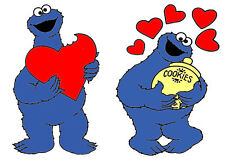 ✿SET OF 2 COOKIE MONSTER LOVE HEART IRON ON TRANSFERS ✿