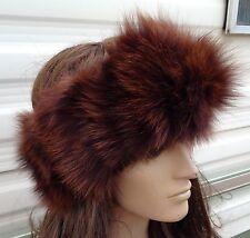 brown real genuine fox fur pelt head ear warmer unisex hat winter ski headband