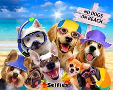 No Dogs On Beach Selfie Yorkie Pug Lab Swim 54x68 Oversized Beach Towel Blanket