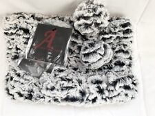Adrienne Landau A Cowl Scarf Snood Black White Chenille Faux Fur Collar