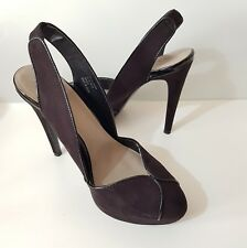 Next Black Faux Suede Slingback Platform Shoes Size 6.5/40