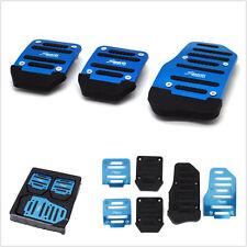 3 Pcs Manual Car Auto Nonslip Brake Clutch Pedal Plates Cover Set Footrests Blue