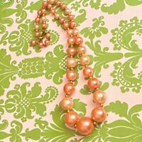 Vintage Beaded Necklace Graduated Orange Lucite Pearls Gold Tone Separators
