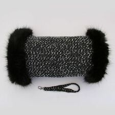 Linton Tweed White & Black Fur Trimmed Vintage Look Hand Muff Warmer Gloves