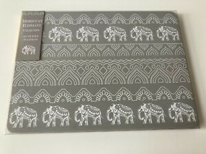 Set of 4 Grey Moroccan Elephant Placemats Dinner Dining Table Mats