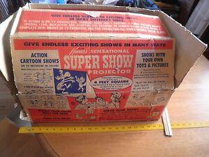 Kenner Super Show Projector in box w/puppets Rocky Bullwinkle Flintstones 1960s