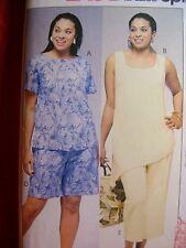 Plus Size Womens Pattern Easy Top Shorts Pants 26W 28W 30W 32W McCalls 4097 NEW