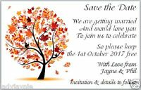 20 Handmade Save the Date Wedding Cards - Autumn Tree Design