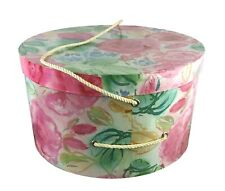 """Beautiful Pink Green White Blue Floral Round Lidded Hat Wig Box 12 x 6.5"""""""