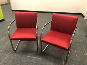 2 KNOLL STUDIO MIES VAN DER ROHE TUBULAR BRNO CHAIRS MIDCENTURY EAMES OFFICE RED