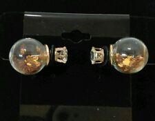 Earrings* Globe yellow heart confetti dual sided simulated diamond stud