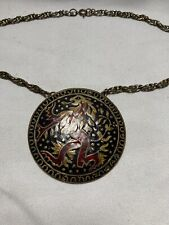 New ListingLarge Solid Brass & Enamel Dragon Pendant made India Vintage 1970s Necklace